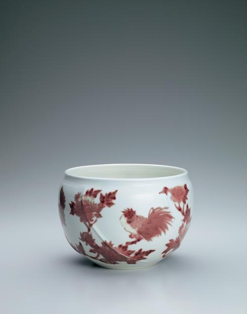 釉裏紅鶏牡丹文鉢