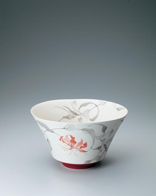 赤絵墨彩グロリオサ文鉢