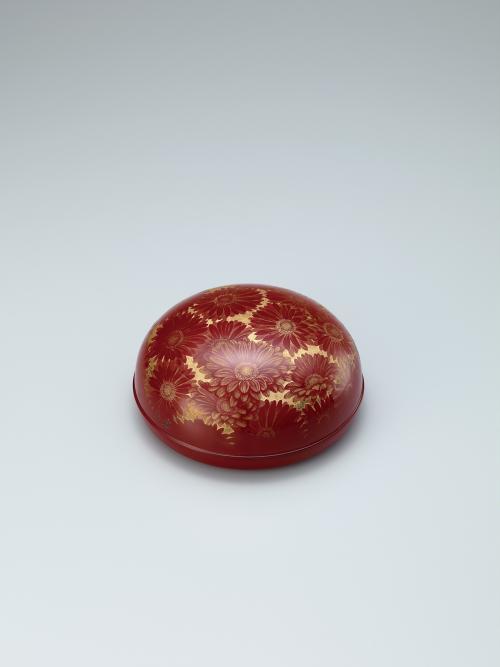 沈金合子「赤い花」