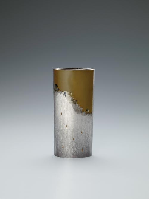 銀黄銅攪拌文花器「想影」