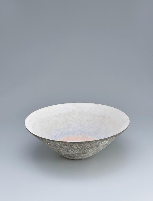 淡彩泥線紋鉢