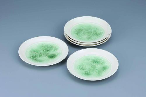 牙黄磁緑彩樹葉文組皿