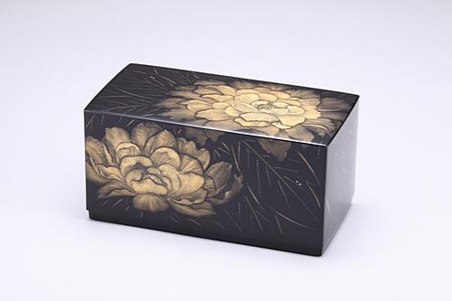 沈金箱「牡丹」