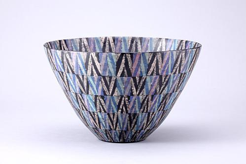 幾何紋銀彩鉢