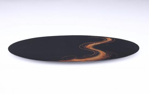 流水文蒔絵盤