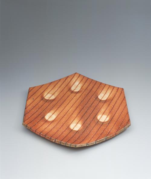 信楽六方象嵌角皿