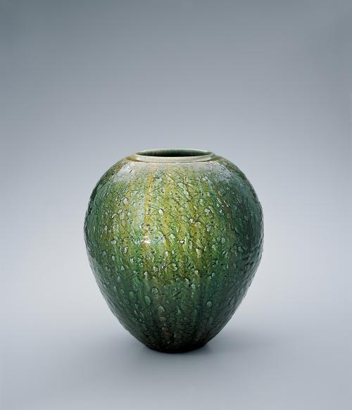 灰陶緑釉彩壺