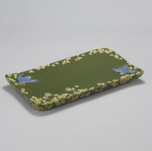 緑漆沈金堆錦盤「首里の飛翔」