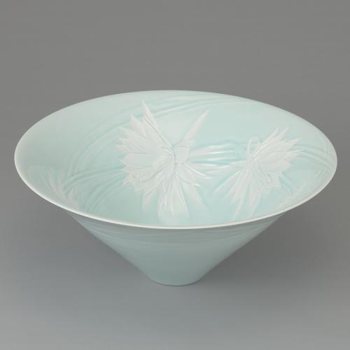 青白磁月下美人陰刻鉢