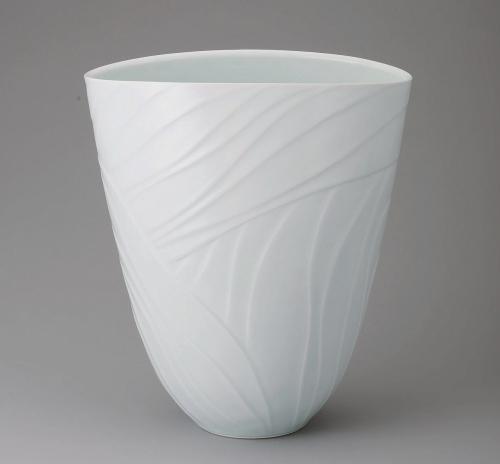 青白磁流線文扁鉢