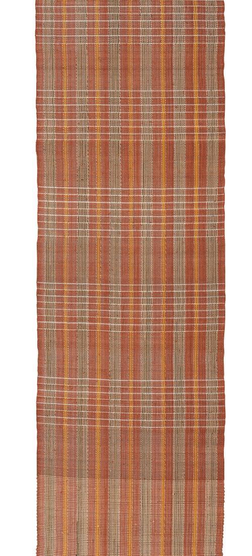 芭蕉布八寸帯「茶色地絽織縞」
