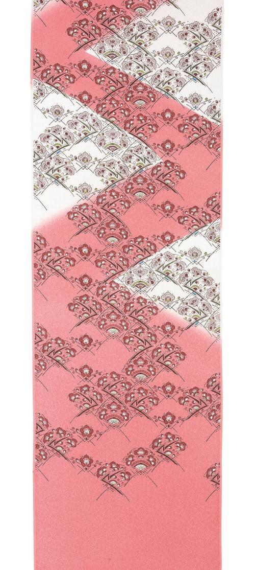 木版摺更紗帯「梅が香」