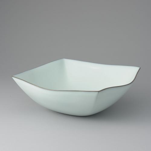 中野月白瓷四方鉢