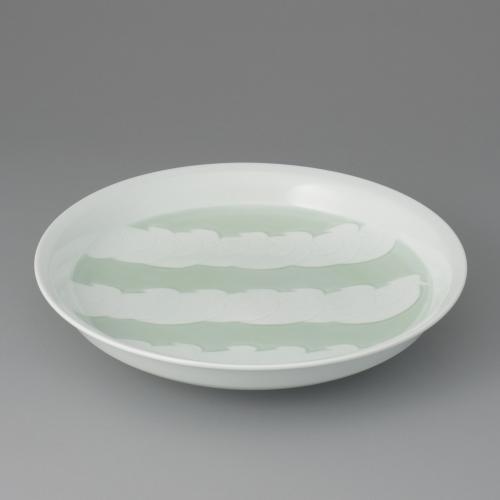 白磁緑釉鳥彫文鉢