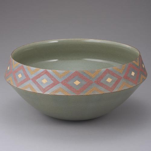 炭化象嵌釉彩鉢